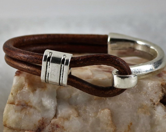 Featured listing image: Half Cuff leather Bracelet, Silver Hook Bracelet, Leather Hook Bracelet, Gift for Him, Gift for Her,  Custom Size, Men Bracelet, Christmas