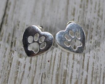 Paw Print Post Earrings Silver, Rose Gold Stud Earrings, Dog Paw, Cat Paw Post , Dog Mom Gift Animal Lover Earrings,Gift for Her