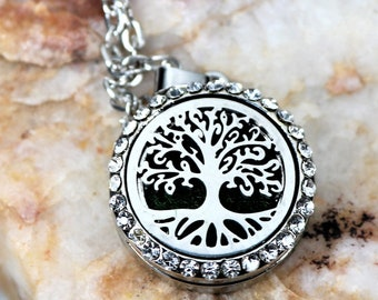 MINI Family Tree EO Necklace, 20mm Stainless Steel Essential Oil  Pendant, Small Aromatherapy Diffuser, Petite EO Locket, Gift for Her