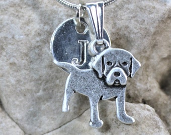 Silver Personalized Labrador Retriever  Dog Necklace, Lab Dog lover Necklace with Initial, Gift for Her, Gift for Him