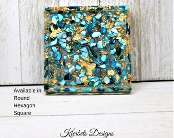 Blue Seashell and Gold Foil Coaster, Nautical Inspired Natural Trinket Tray,  Sparkly  Home Decor Housewarming Gift