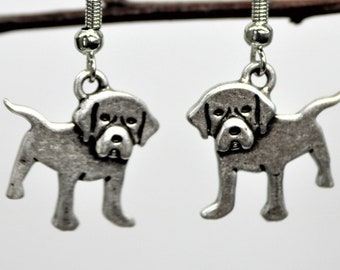 Dog Lover Dangle Earrings, Labrador Retriever Earrings, Antique Silver Pet Breed Jewelry, Dog Lover Present, Gift for her