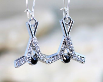 Rhinestone Hockey Sticks with Black Onyx Puck Dangle Earrings, AHL and NHL Sports Themed Fashion Jewelry, Gift for Her