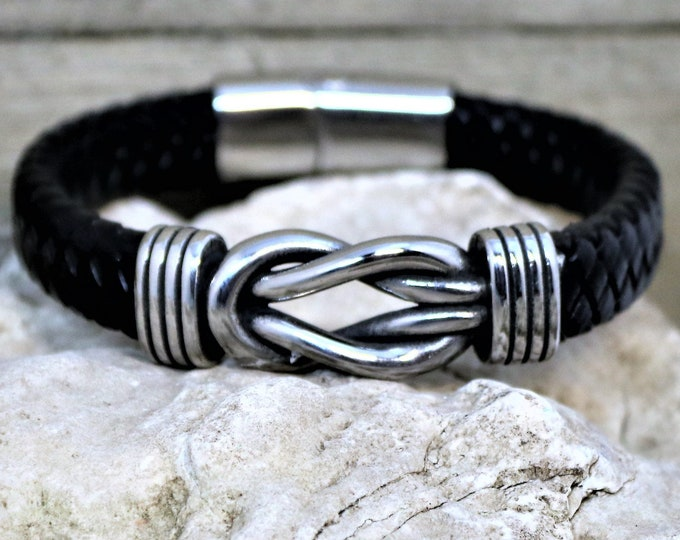 Featured listing image: Braided Leather and Polished Steel Infinity Knot Magnetic Hook Closure Bracelet, Unique Men's Jewelry, Boyfriend Bracelet,  Gift for Him