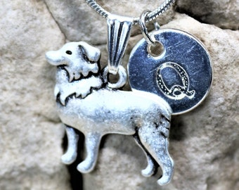 Silver Personalized Border Collie Dog Necklace, Dog lover Necklace with Initial, Gift for Her, Gift for Him