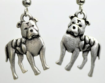 Dog Lover Dangle Earrings, Pit Bull Dog Earrings, Antique Silver Pet Breed Jewelry, Dog Lover Present, Gift for her