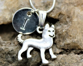 Silver Personalized Akita Dog Necklace,  Dog lover Necklace with Initial, Gift for Her, Gift for Him