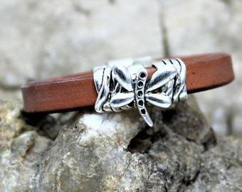 Licorice Brown or Black Leather with Silver Butterfly and Ribbon Bracelet, Unique Ladies Butterfly Leather Jewelry Accessory, Gift for Her