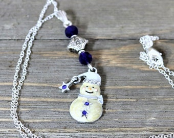 Snowman Winter Holiday Pendant Necklace with White Cobalt Blue Star and Accents Festive and Fun Christmas Accessory Jewelry, gift for Her