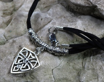 Celtic Pendant Necklace, Leather and Silver, Leather Necklace, Men's Jewelry, Women's Jewelry, Gender Neutral, Gift for Him, Gift for Her