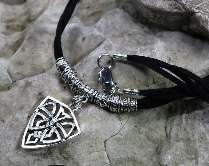 Featured listing image: Celtic Pendant Necklace, Leather and Silver, Leather Necklace, Men's Jewelry, Women's Jewelry, Gender Neutral, Gift for Him, Gift for Her