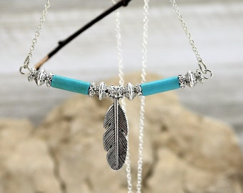 Silver Feather Necklace, Turquoise Bead Boho Chic Pendant, Long Silver Statement Accessory, Bohemian Tribal Gift for her, December Birthday