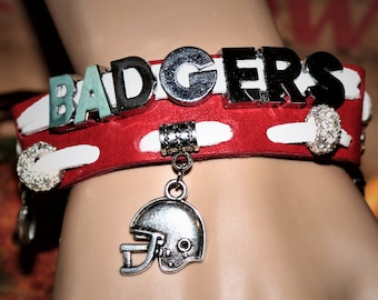 Wisconsin Badgers Leather Charm Bracelet
