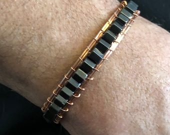 Magnetic Copper Wire Wrap Arthritis Bracelet, Black Hematite Healing Stone Accessory, Natural Copper Jewelry Unique Handmade Gift for Him