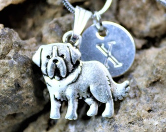 Silver Personalized Saint Bernard Dog Necklace, St Bernard Dog lover Necklace with Initial, Gift for Her, Gift for Him