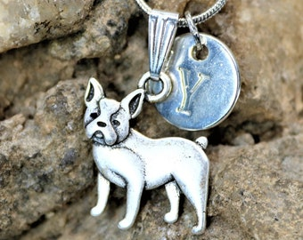 Silver Personalized Boston Terrier Dog Necklace,  Dog lover Necklace with Initial, Gift for Her, Gift for Him