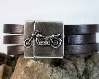 Leather Motorcycle Bracelet, Three Strand Leather Bracelet,  Harley Davidson style Leather Bracelet, Gift for Her, Gift for Him
