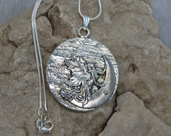 Long Pendant Necklace Silver Fairy Crescent Moon Fantasy Jewelry Disc Fashion Unique Style Magical Beautiful Feminine Accessory Gift for Her