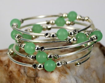 Matte Jade and Silver Memory Wire Bracelet