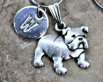Silver Personalized Bull Dog Necklace, Dog lover Necklace with Initial, Gift for Her, Gift for Him