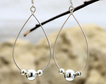 Sterling Silver Teardrop Minimalist Earrings Everyday Wear Silver Bead Dangle Drop with 925 Silver Ear Wire, Birthday Gift for Her