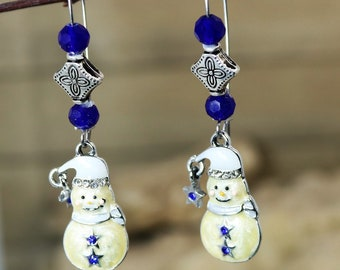 Snowman Winter Holiday Dangle Earrings with White Cobalt Blue Star and Accents Festive and Fun Christmas Accessory Jewelry, gift for Her