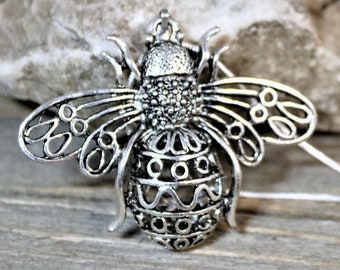 Large Silver 3D Bumble Bee Pendant Necklace on Silver Snake Chain, Jewelry Accessory gift for her