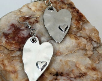 Hammered Stainless Steel Heart Earrings, Silver Heart Earrings, Heart Dangle Girlfriend Earrings Everyday Wear, Valentine Day Gift for Her