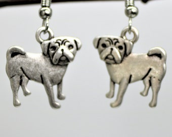 Dog Lover Dangle Earrings, Pug Dog Earrings, Antique Silver Pet Breed Jewelry, Dog Lover Present, Gift for her
