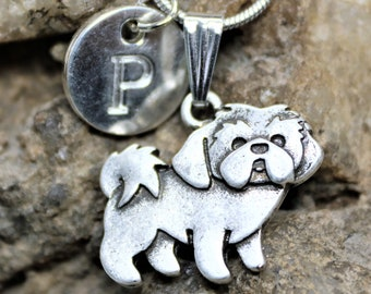 Silver Personalized Shih Tzu Dog Necklace, Dog lover Necklace with Initial, Gift for Her, Gift for Him