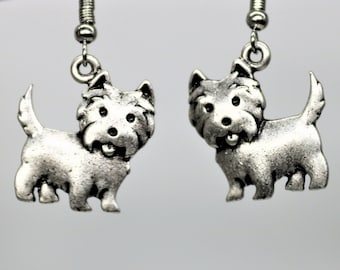 Dog Lover Dangle Earrings, Westie Dog Earrings, Antique Silver Pet Breed Jewelry, Dog Lover Present, Gift for her