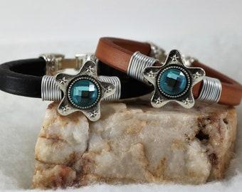 Leather Blue Star Bracelet