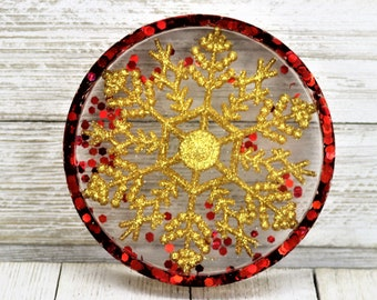 Resin Holiday Coaster, Gold Snowflake Red Glitter Trinket Tray, Gold Sparkly Winter Home Decoration, Christmas Gift for the Home
