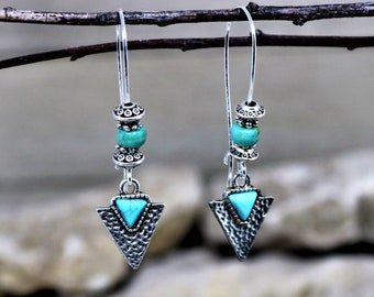 Turquoise and Silver Triangle Arrow Dangle Earrings, Bohemian Western Style Ear Wire Drop earrings, Gift for Her