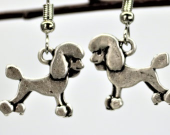 Dog Lover Dangle Earrings, Poodle Dog Earrings, Antique Silver Pet Breed Jewelry, Dog Lover Present, Gift for her