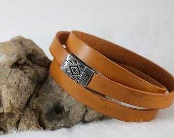 Triple Wrap Layered Leather Southwest Bracelet