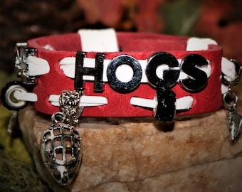 Rockford Ice Hogs Leather Charm Bracelet
