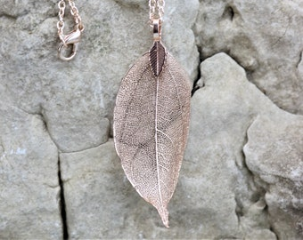 Rose Gold Leaf Pendant Necklace, Natural leaves Filigree Long Chain Jewelry, Fashion Unique Style,  Beautiful Accessory Gift for Her
