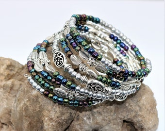 Flower and Leaf Beaded Stack Bracelet, Silver Memory Wire Seven Layered Bohemian Style Accessory, Fashionable Fun Boho Weekend Gift for Her