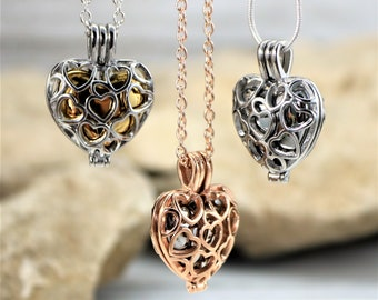 Heart Cage Urn Necklace, Personalized Memorial Keepsake Pendant for Ashes, Filigree Heart Cage Cremation Jewelry Silver Gold Rose Gold Color