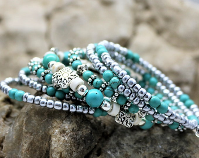 Featured listing image: Turquoise Stack Bracelet, Silver Memory Wire Seven Layered Bohemian Western Bead Style Accessory, Fashionable Fun Boho Weekend Gift for Her