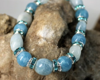 Aquamarine Nugget and Crystal Stretch Bracelet