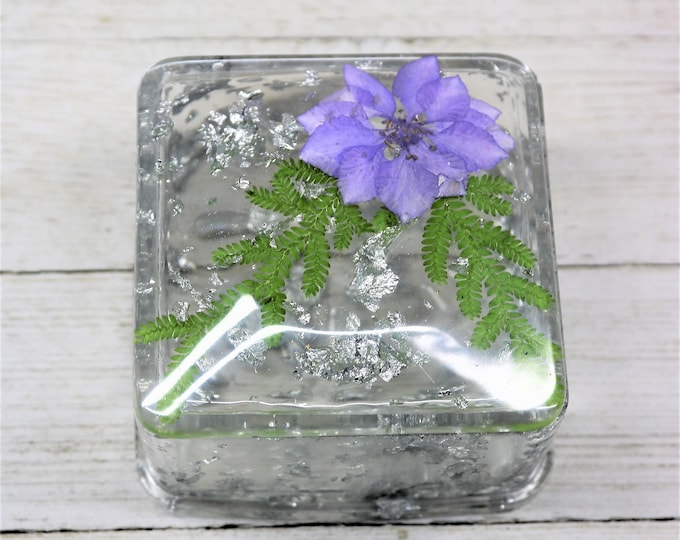 Featured listing image: Resin Trinket Box with Lid, Real Dried Blue Flower and Leaf Floating in Silver Foil, Handmade Home Decor table accent Valentine Gift for Her