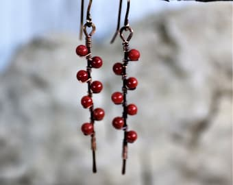 Copper Wire Wrapped Red Jasper Gemstone Beaded Earrings, Handmade Hammered Accessories, Vine Pattern Bar Dangle Jewelry, Gift for Her