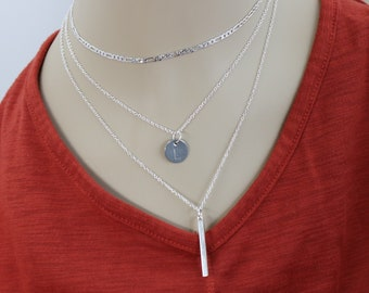 Silver Stack Personalized Monogram Bar Pendant 3 Multiple Strand Necklace, Layered Charm Unique Style, Trendy Accessory Gift for Her