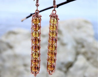 Copper Wire Wrap Earrings with Glass Galaxy Beads, Sparkly Beaded Handmade Jewelry, Natural Wrapped Copper Unique Handmade Gift for Her