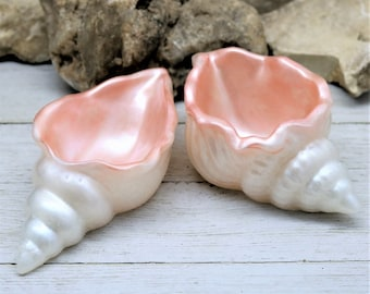 Resin Conch Seashell Trinket Dish, Rose Gold and Pearl White Handmade Home Decor Vanity Dresser Table or Bathroom accent Gift for Her