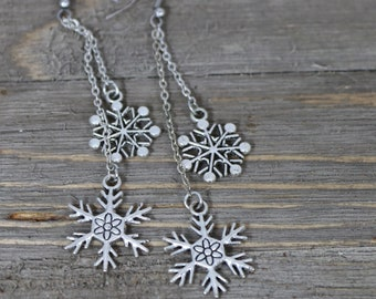 Silver Snowflake Winter  Holiday Dangle Earrings, Festive and Fun Christmas Jewelry, gift for Her