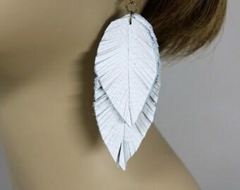 White Leather Feather Earrings, Boho Chic, Bohemian Style, Gypsy Earring, Natural Earrings, Handmade Teardrop Leather Earrings, Gift for Her