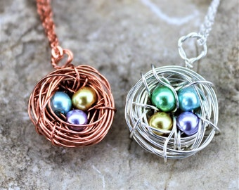 Mother's Day Personalized Birthstone Bird Nest Pendant Necklace, Customized Sterling Silver Pearl Jewelry Gift for Grandma, Sister, Friend